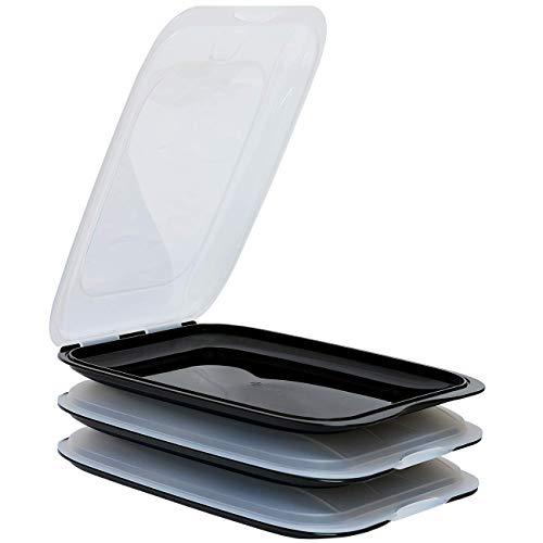 ENGELLAND - Hochwertige stapelbare Aufschnitt-Boxen, Frischhaltedose für Aufschnitt. Wurst Behälter. Perfekte Ordnung im Kühlschrank, 3 Stück Farbe Schwarz, Maße 25 x 17 x 3.3 cm