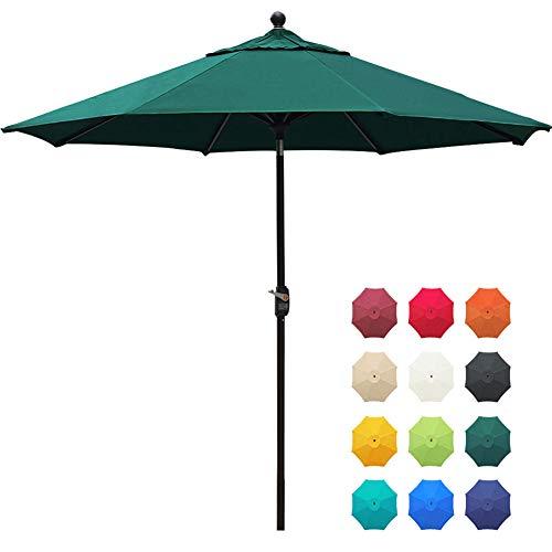 EliteShade Sunbrella 9Ft Market Umbrella Patio Outdoor Table Umbrella with Ventilation and 5 Years Non-Fading Top,Forest Green