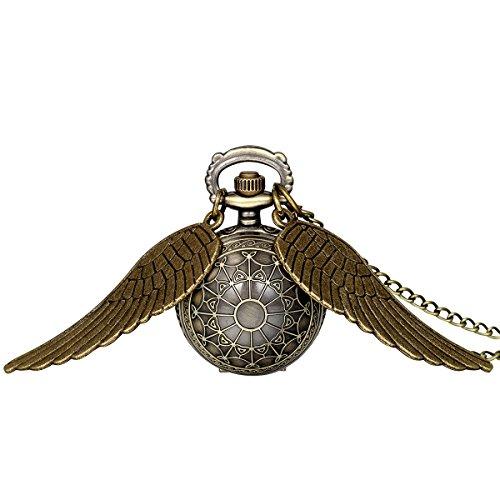 JewelryWe Herren Damen Taschenuhr, Klassiker Vintage Engelsflügel Uhr Anhänger Analog Quarz Kettenuhr Pullover Halskette Kette