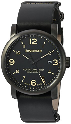 Wenger Men's Urban Metropolitan Stainless Steel Swiss-Quartz Watch with Leather Calfskin Strap, Brown, 21 (Model: 01.1041.134)