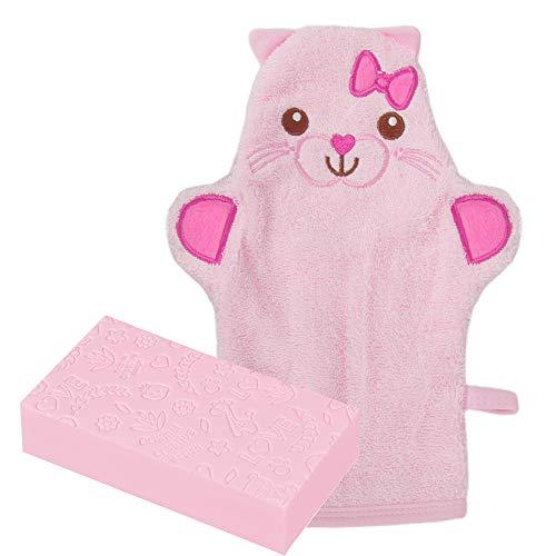 Waschhandschuh Baby, ZoneYan Waschlappen Mit Tiermotiv, Kinder Waschlappen Frottee, Badetuch Baby, Waschhandschuh Handpuppe, Fröhlichen Badespaß Spiel-Waschhandschuh (rosa)