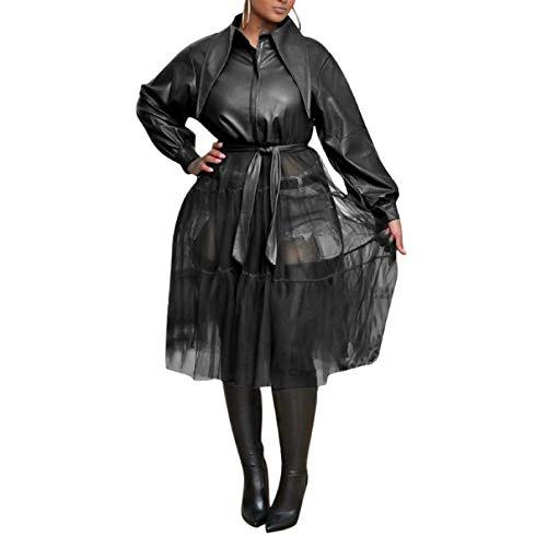 Katenyl Chaquetas de cuero sintético de malla con costuras para mujer, ropa de calle a la moda de Color sólido, abrigo rompevientos con solapa sexy con cinturón