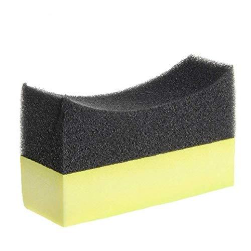 Lavado de coches esponja 5pcs del neumático del coche Encerado esponja de la espuma del cepillo aplicador curvado neumáticos Vestir esponja de la espuma del cojín Negro Amarillo + Accesorios