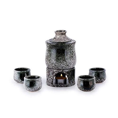 MNBV Exquisito Juego de Sake japonés de cerámica con 4 Vasos de chupito/Tazas, Jarra para Servir y Cuenco Calentador