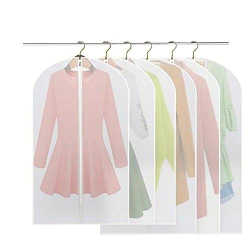 BREEZO Clothes Covers, Pack of 6 PEVA Dustproof Garment Covers Damp-proof Garment Bag, Full Zipper Suit Bag, Washable Waterproof Transparent Dress Cover (3pcs 60 * 100cm +3pcs 60 * 120cm)