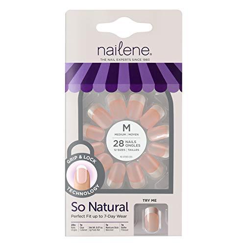Uñas postizas medianas Nailene, ultraflexibles, manicura francesa