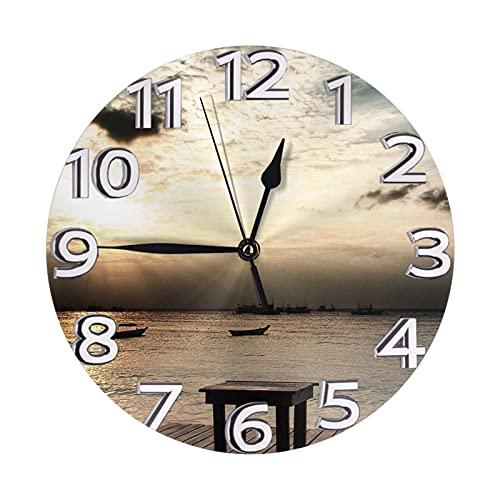 Xiaoxian Playa pesca barcos en la puesta del sol Taburetes de cubierta que no hacen tictacs y fácil de leer reloj de pared redondo decorativo reloj de pared para dormitorio, sala de estar y escuela