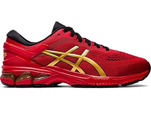 ASICS Men's Gel-Kayano 26 Running Shoes, 8M, Classic RED/Pure Gold