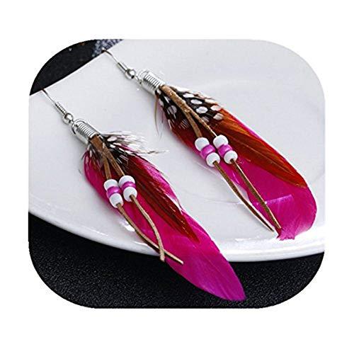Youkeshan Pendientes de pluma, moda festiva, pendientes de plata, pendientes colgantes hechos a mano de plumas