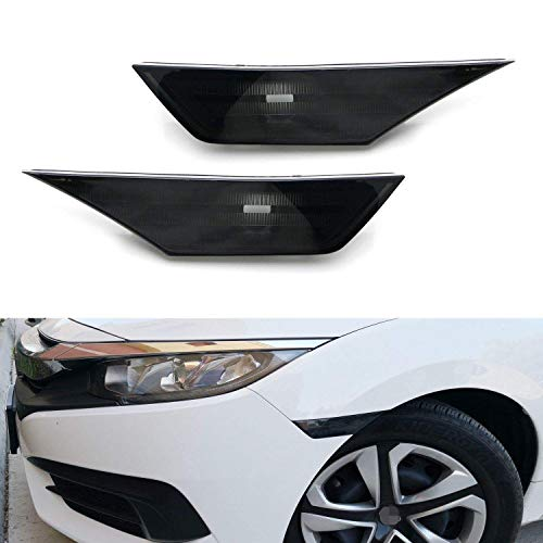 iJDMTOY JDM Black Smoked Lens Front Side Marker Lamp Housings Compatible With 2016-21 Honda Civic Sedan Coupe Hatchback 10th Gen, OE-Spec LH RH Assembly