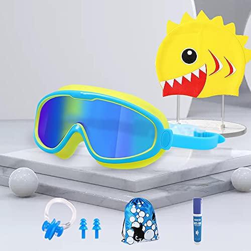 Las gafas de natación de seis piezas para niños de gran marco pueden ser impermeables y antivaho HD en caja para niños y niñas. Traje de seis piezas chapado en color azul y amarillo