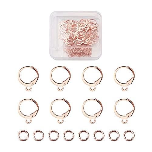 Beadthoven - Set di 100 orecchini a cerchio rotondi placcati in oro rosa, con 100 anelli aperti per donne e ragazze gioielli di ricambio
