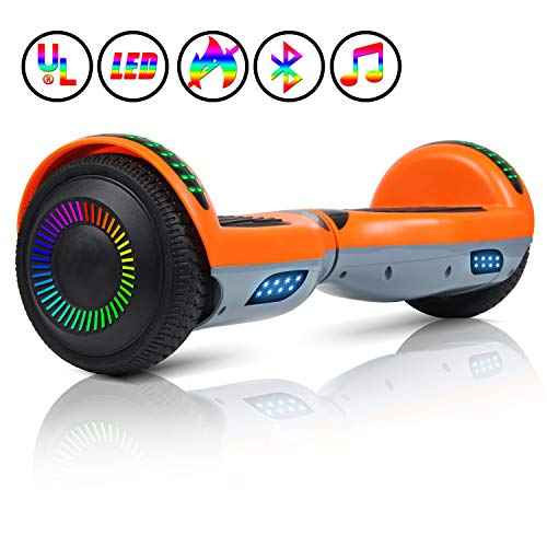 "Huanhui Hoverboard, 6.5"" Self Balance Scooter con Luces LED, Altavoz Bluetooth, Ruedas Intermitentes, Segway, Regalo para niños y Adultos"