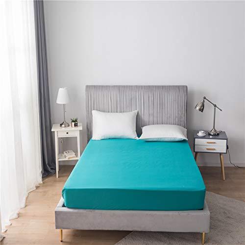 HAIBA Sábana bajera de franela de algodón cepillado o fundas de almohada, suave y acogedor, azul 2,39 x 75 + 12 (99 x 190 + 30 cm)