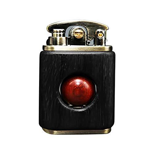 Winkey@ Vintage Cool Feuerzeug, Persönlichkeit Kreative Rote Sandelholz Feuerzeug Dekoration Altmodisches Massivholz, Einzigartige Geburtstagsgeschenke für Männer Papa Ehemann (Schwarz)
