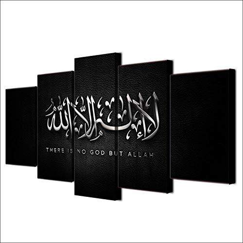 SFDHG 5 Paneles de Islam Allah El Qur &; An Cuadro sobre lienzoimagen gráfica decoracionmoderno Sala Decorativos-No Frame-110x60Cm