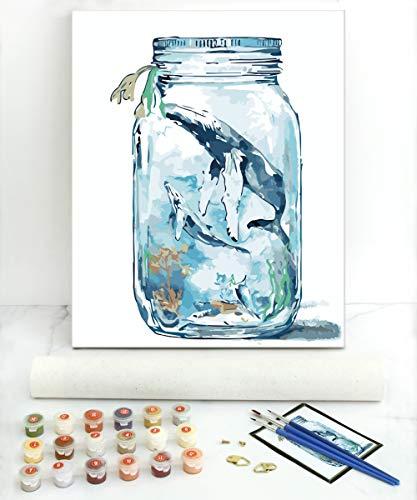 Gronda Pintura por números para adultos y niños sobre lienzo, ballena de deseos de 50,6 x 40,6 cm (sin marco), color por números con pigmentos acrílicos y pinceles