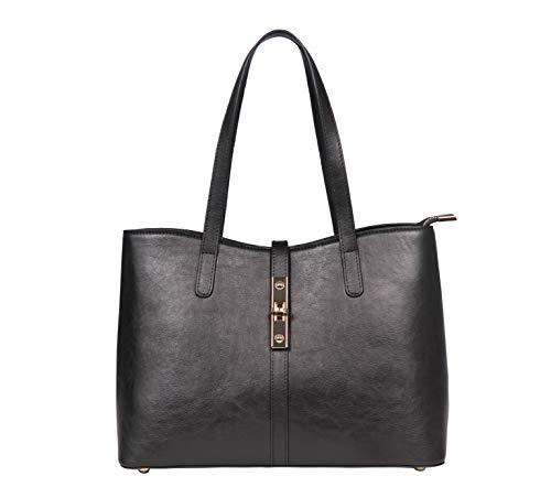 SILVIO TOSSI Damen Lederhandtasche Schultertasche Schwarz Modell 13171-03