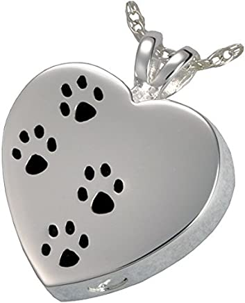 Memorial Gallery Pets 3167s Paw Prints On My Heart Sterling Silver Cremation Pet Jewelry