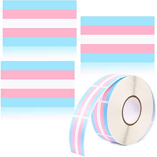 Blue Panda Trans Pride Regenbogenflagge, Pastell-Aufkleber, 3,8 x 5,1 cm, 1000 Stück