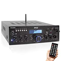 200 WATT POWER The 2-Channel Pyle Bluetooth Stereo Amplifier Receiver is perfect for your karaoke and home theater acoustic sound system Gives you 200W power w/ 100W RMS accommodates 2 sets of speakers lets you enjoy high quality amplified audio 7 IN...