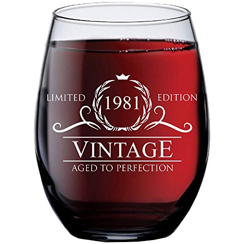 40th Birthday Gifts for Women Men - 1981 Vintage 15 oz Stemless Wine Glass - 40 Year Old Birthday Party Decorations - Fortieth Anniversary Presents for Parents Dad Mom - Forty Class Reunion Ideas