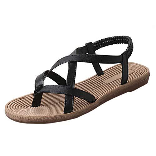 Mujeres Flip Flops Bohemia Zapatos Planos al Aire Libre Casual Beach Shoes T Correa Poste Thongs Clip Toe Tira Tobillo Sandalias