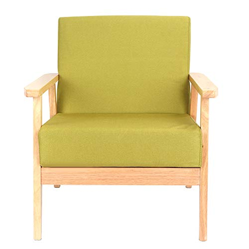 Wooden Armchair, Vintage Sofa Chair Ginger Yellow Mid-Century Style Lounge Chair Linen Fabric Wingback Armchair for Living Room