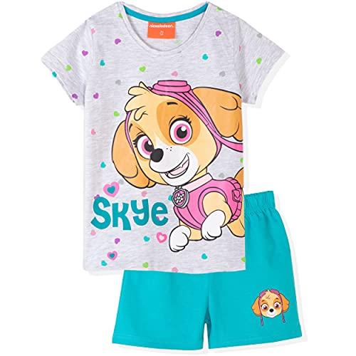 Paw Patrol Skye Character - Pijama de manga corta para niña, 100% algodón, camiseta y pantalones cortos, color azul 6