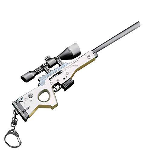 Azlink Gun Keychain Pendant For Pubg Player Bartley Bolt-Action Sniper Rifle Legendary Guns Toys Heavy Shotgun Model Alloy Metal Sniper Rifle Keychain Game Party Supplies Collection Gift