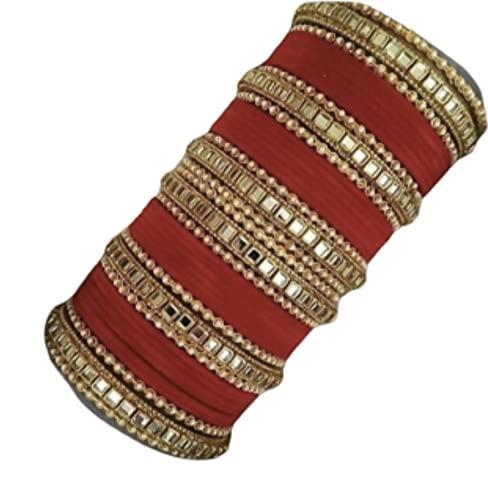 Juego de pulseras de plástico acrílico KUNDAN con amor y base de plástico para mujer o mujer, tamaño: 2,8, color: rojo