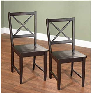 Virginia Cross-Back Chair, Set of 2 (Espresso)