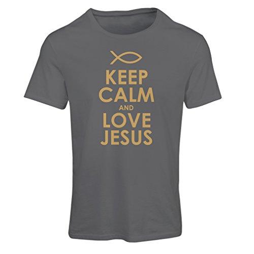 Maglietta Donna AMA Gesù Cristo, Religione Cristiana - Pasqua, Resurrezione, Natività, Idee Regalo religiose (Medium Grafite Oro)
