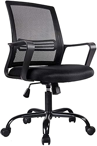 Office Chair, Mid Back Desk Chair Mesh Computer Chairs, Home Office Task Chair, Ergonomic Swivel Rolling Chair with Lumbar Support and Armrests