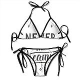 Web--ster Frauen Bikini Set, blühende Gartenblumen grüne Blätter Gruß Zitat mit einem Pfeil und einem Herzen, Zweiteiliger Badeanzug