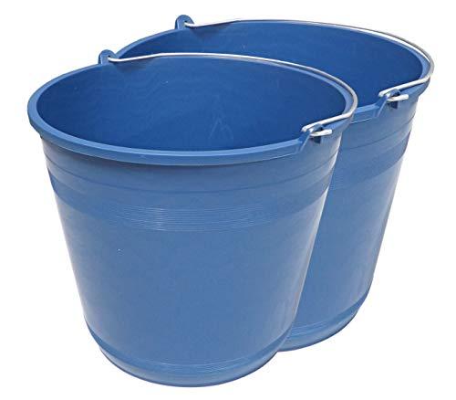 PACK de 2 cubos engomados de plástico reciclado (Azul) (16 litros)