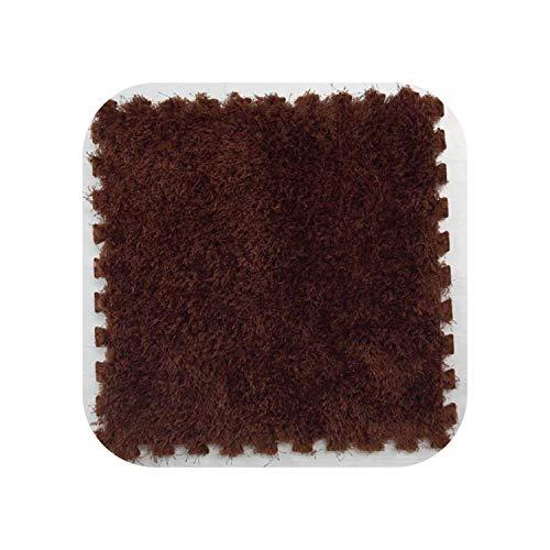Star Harbor Shapers Blauer Teppich |4/6/9 Pcs Square Puzzle Carpet 30 * 30cm Modern Soft Living Wohnzimmer Schlafzimmer Kinder Teppiche 7 Farbe Splice Anti-Rutsch-Fußmatten-Braun-6 Stück
