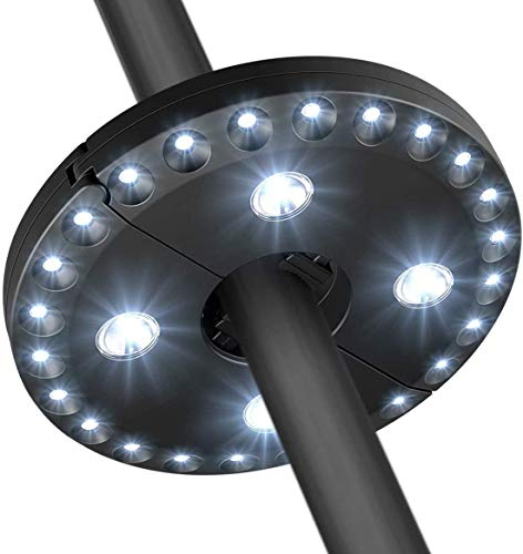 Yohencin Lampe de parapluie 28 LED, éclairage blanc sans fil fonctionnant à piles 3 modes d'intensité pour parasol, camping, tentes, patio, barbecue (Noir)
