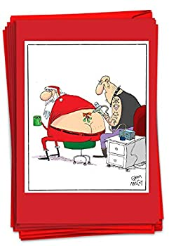 NobleWorks - 12 Funny Greeting Cards for Christmas - Cartoon Adult Humor Boxed Holiday Cards with Envelopes  1 Design 12 Cards  - Santa Tattoo B2474XSG