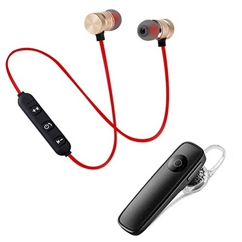 TEVOTALK Combo Wireless Bluetooth Earphones Wireless Sports Magnetic Bluetooth Headset Headphones with Mic Stereo Sound, Calling & Music forAll Android and Phone Devices