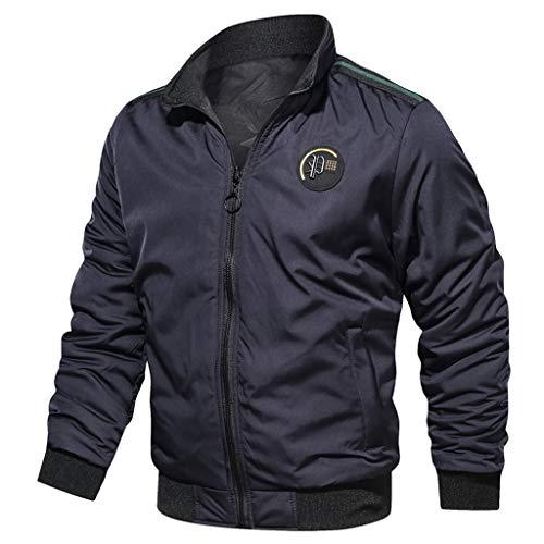 FRAUIT heren vliegenjack bomberjack parka mantel militair piloten jack herfst winter mannen nonchalant pure kleur aan beide zijden dragen ademende jas mantel L-3XL