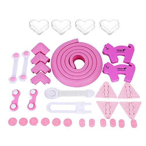 40 Stücke Kindersicherung Kit Baby Sicherheitsschlösser Eckenschutz Steckdosenschutz Sicherheitsschrank Türstopper Guards Set