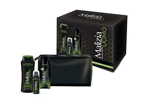Malizia Confezione UOMO VETYVER 1 Gel doccia shampoo 250 ml + edt 175 ml + schiuma da barba 50 ml + beauty case con cerniera