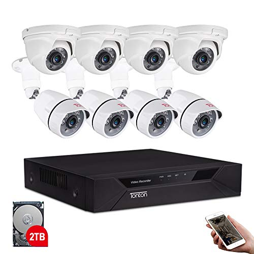 Tonton 8CH Full HD 1080P Home Security Camera System Outdoor, 5-in-1 Surveillance Video DVR with 4PCS Bullet Cameras and 4PCS Dome Cameras,Easy Setup,Free App&Email Alerts (2TB HDD Included)