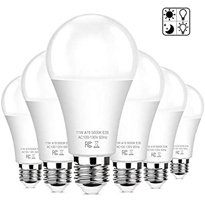 6-Pack Dusk to Dawn LED Light Bulbs, A19 11W(100Watt Equivalent), E26 Basic Automatic On/Off, 1200LM, Daylight White 5000K Smart Sensor Lights, Outdoor for Porch Garage Yard Patio Garden