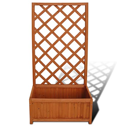 Qiilu Garden Bed Planter with Trellis, Solid Acacia Wood Fence with Storage Decorative Lattice Flower Plant Holder Organizer for Garden Patio Terrace,53.2X 27.6 X 11.9 Inch