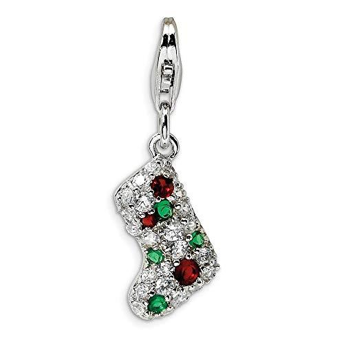 Plata de ley 925 con varios colores chapado en rodio y cierre de langosta multicapa CZ con cierre de langosta colgante colgante de collar mide 28 x 9 mm joyería regalos para mujeres