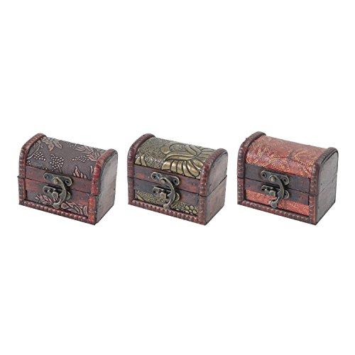 HMF 6415-108 Kleine Schatztruhe aus Holz | 8 x 5 x 6 cm | 3er Set | Versch. Muster