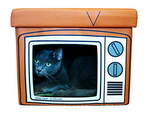 Feline Ruff TV Cat House. A Sturdy Wood Cat Nap Ottoman and Indoor Cat Cube. Covered Pet Bed Hideaway Cave for Dogs and Other Pets Too.