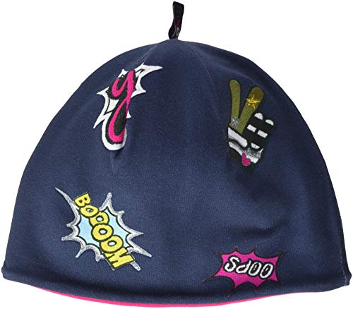 maximo Mädchen 83500-020100, Beanie, Jersey mit Futter Mütze, Mehrfarbig (Graphitblau-Pink-Badgedruck 32), 55